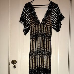 BRAND NEW FREE PEOPLE NOIR LACE GOWN deadstock